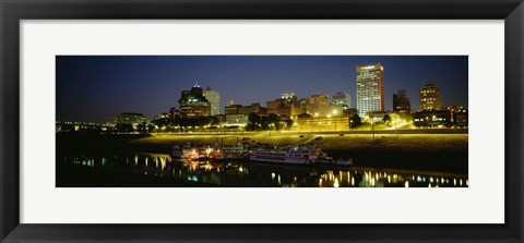 Framed Buildings Lit Up At Dusk, Memphis, Tennessee, USA Print
