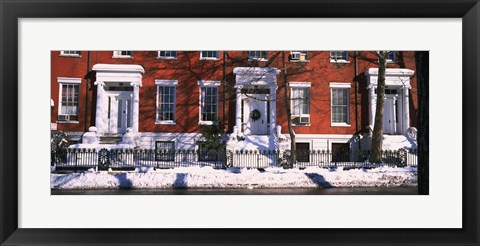 Framed Facade of houses in the 1830's Federal style of architecture, Washington Square, New York City, New York State, USA Print