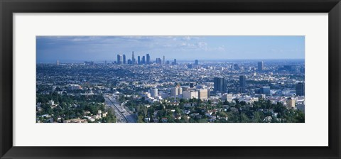 Framed Aerial view of a city, Los Angeles, California, USA Print