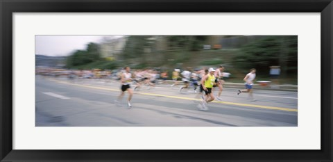 Framed Marathon runners on a road, Boston Marathon, Washington Street, Wellesley, Norfolk County, Massachusetts, USA Print