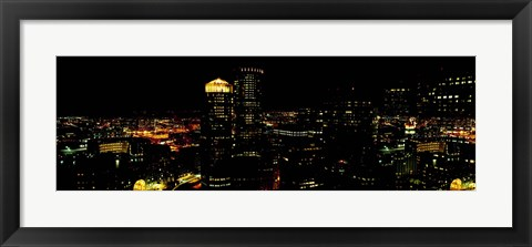 Framed High angle view of a city at night, Boston, Suffolk County, Massachusetts, USA Print