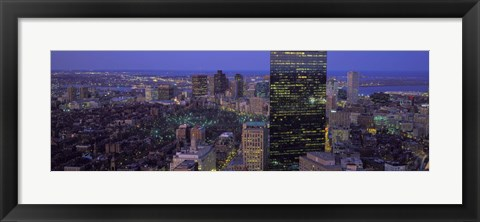 Framed Boston Lit Up at Night Print