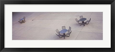 Framed High angle view of tables and chairs in a park, San Jose, California, USA Print