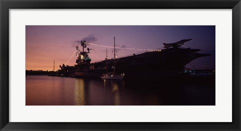Framed Silhouette of an aircraft carrier in the sea, USS Intrepid, New York City, New York State, USA Print