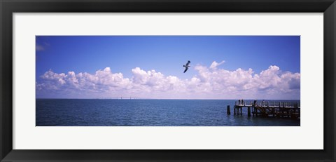 Framed Pier over the sea, Fort De Soto Park, Tampa Bay, Gulf of Mexico, St. Petersburg, Pinellas County, Florida, USA Print