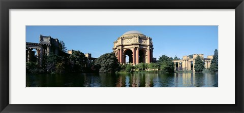 Framed Reflection of an art museum in water, Palace Of Fine Arts, Marina District, San Francisco, California, USA Print