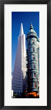 Framed Low angle view of towers, Columbus Tower, Transamerica Pyramid, San Francisco, California, USA Print
