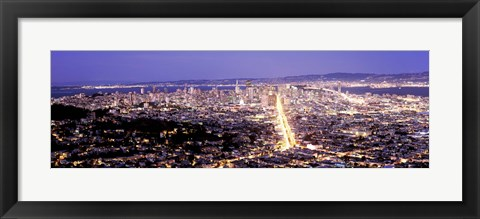 Framed Aerial view of a city, San Francisco, California, USA Print