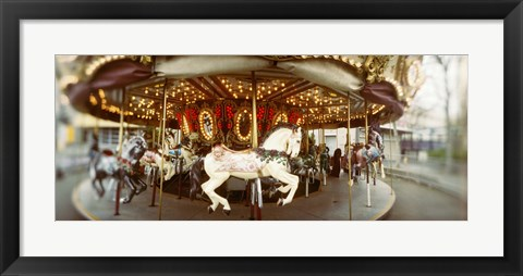 Framed Carousel horses in an amusement park, Seattle Center, Queen Anne Hill, Seattle, Washington State, USA Print