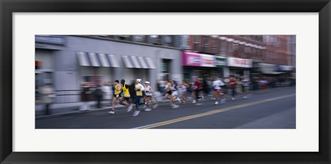 Framed People running in New York City Marathon, Manhattan Avenue, Greenpoint, Brooklyn, New York City, New York State, USA Print
