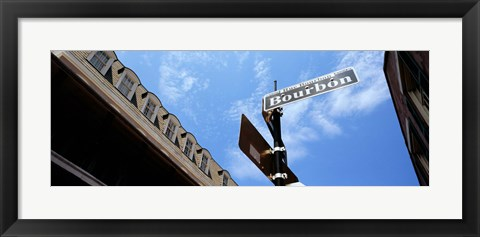 Framed Street name signboard on a pole, Bourbon Street, French Market, French Quarter, New Orleans, Louisiana, USA Print