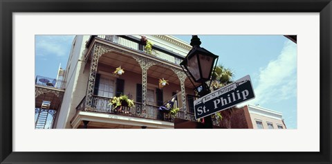 Framed Street name signboard on a lamppost, St. Philip Street, French Market, French Quarter, New Orleans, Louisiana, USA Print