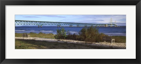 Framed Suspension bridge across a strait, Mackinac Bridge, Mackinaw City, Michigan, USA Print