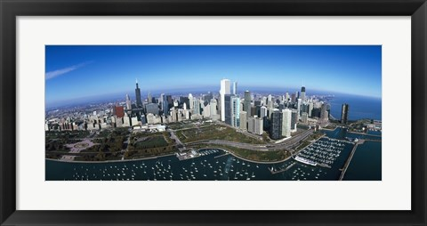Framed Aerial view of a park in a city, Millennium Park, Lake Michigan, Chicago, Cook County, Illinois Print