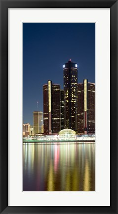 Framed Skyscrapers lit up at dusk, Renaissance Center, Detroit River, Detroit, Michigan, USA Print
