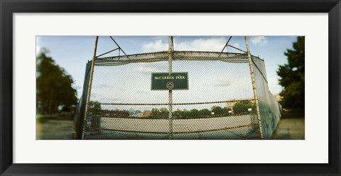 Framed Chainlink fence in a public park, McCarren Park, Greenpoint, Brooklyn, New York City, New York State, USA Print