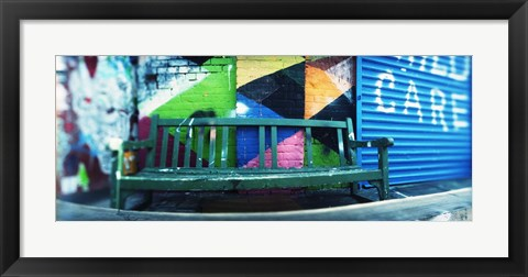 Framed Bench outside a building, Williamsburg, Brooklyn, New York City, New York State, USA Print