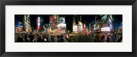 Framed 360 degree view of buildings lit up at night, Times Square, Manhattan, New York City, New York State, USA Print