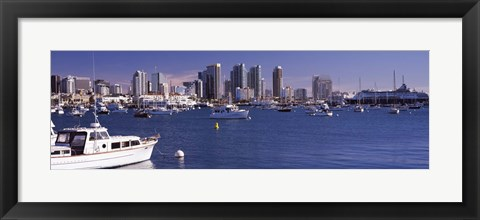 Framed Boats in the San Digeo Harbor Print
