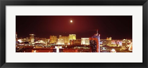 Framed Moon Over Las Vegas at Night Print