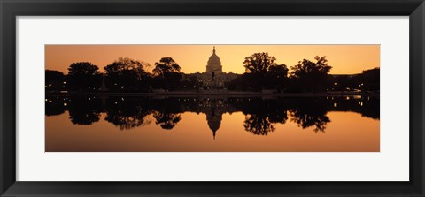 Framed Sepia Toned Capitol Building at Dusk, Washington DC Print