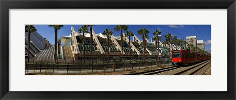 Framed MTS commuter train moving on tracks, San Diego Convention Center, San Diego, California, USA Print