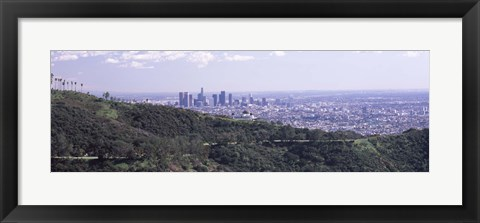 Framed Aerial view of Los Angeles from Griffith Park Observatory Print