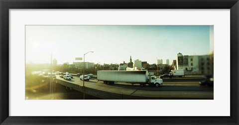 Framed Traffic on an overpass, Brooklyn-Queens Expressway, Brooklyn, New York City, New York State, USA Print