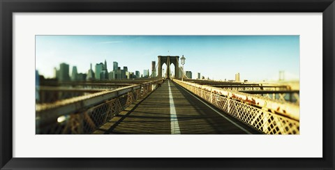 Framed City viewed from Brooklyn Bridge, Manhattan, New York City, New York State, USA Print