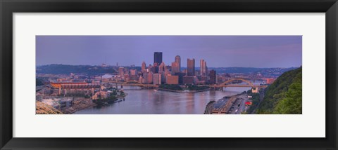 Framed City viewed from the West End at Sunset, Pittsburgh, Allegheny County, Pennsylvania, USA 2009 Print