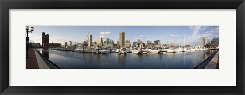 Framed Boats Moored at Inner Harbor, Baltimore, Maryland Print