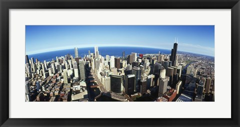 Framed Aerial view of Chicago with the lake in the background, Cook County, Illinois, USA 2010 Print