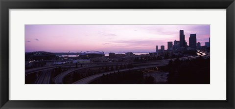Framed City at sunset, Seattle, King County, Washington State, USA Print