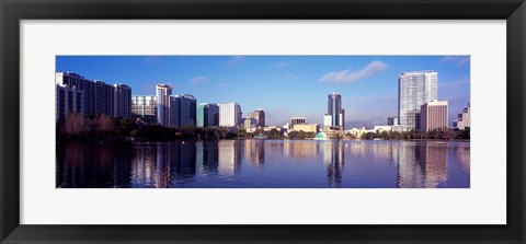Framed Buildings Reflecting in Lake Eola, Orlando, Florida Print