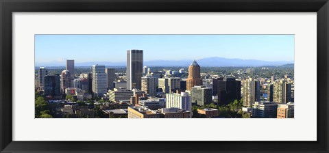 Framed Cityscape with Mt St. Helens and Mt Adams in the background, Portland, Multnomah County, Oregon, USA 2010 Print