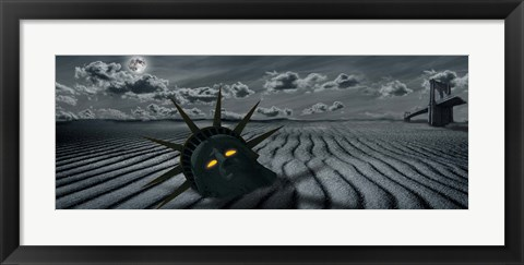 Framed Head of a statue with a broken bridge in the background on a dry river Print