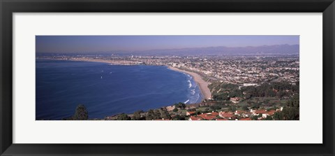 Framed Aerial view of a city at coast, Santa Monica Beach, Beverly Hills, Los Angeles County, California, USA Print