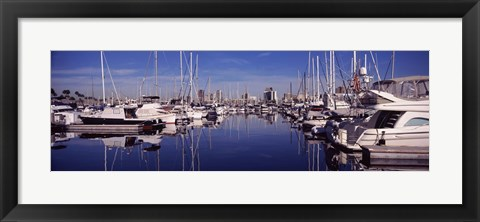 Framed Sailboats at a harbor, Long Beach, Los Angeles County, California, USA Print