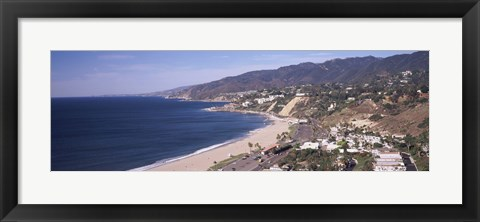 Framed High angle view of a beach, Highway 101, Malibu Beach, Malibu, Los Angeles County, California, USA Print