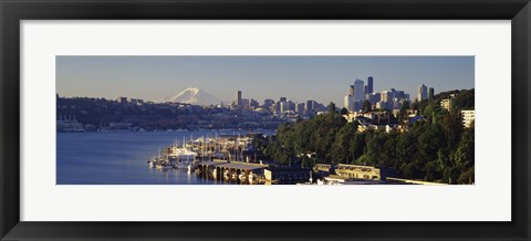 Framed Buildings at the waterfront, Lake Union, Seattle, Washington State, USA 2010 Print