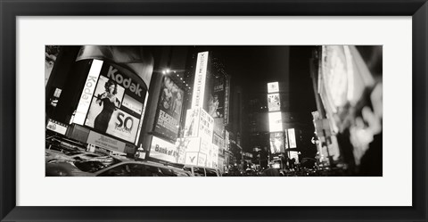 Framed Black and white view of Times Square, Manhattan Print