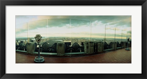 Framed Coin-operated binoculars on the top of a building, Rockefeller Center, Manhattan, New York Print