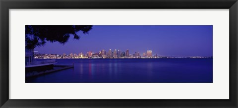 Framed San Diego in the Distance, Night View Print