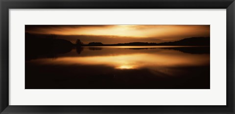 Framed Reflection of clouds in a lake at sunset, Loch Raven Reservoir, Lutherville-Timonium, Baltimore County, Maryland Print