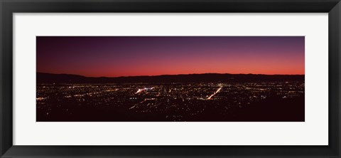 Framed City lit up at dusk (red sky), Silicon Valley, San Jose, California Print