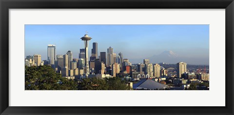 Framed Seattle city skyline with Mt. Rainier in the background, King County, Washington State, USA 2010 Print