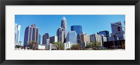 Framed Charlotte Skyline, North Carolina Print