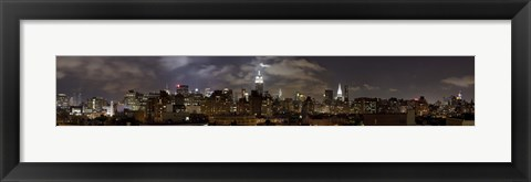 Framed Buildings lit up at night, Empire State Building, Manhattan, New York City, New York State, USA 2009 Print