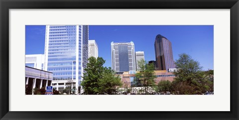 Framed Downtown modern buildings in a city, Charlotte, Mecklenburg County, North Carolina, USA 2011 Print