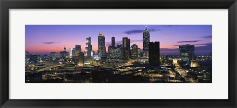 Framed Atlanta skyline at night, Georgia, USA Print